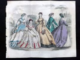 Godey 1865 Hand Col Fashion Print. May